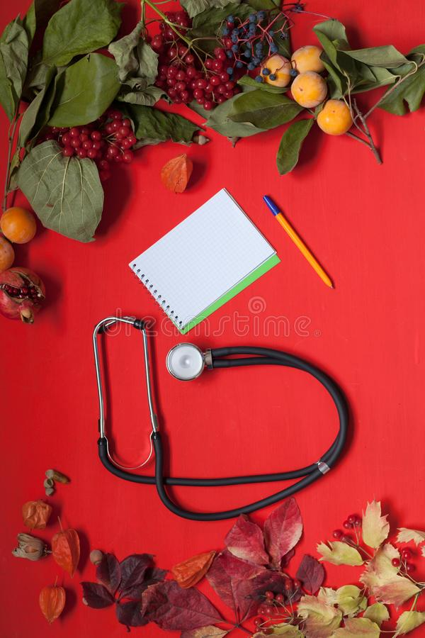 Autumn background stethoscope yellow leaves hospital z stock photography