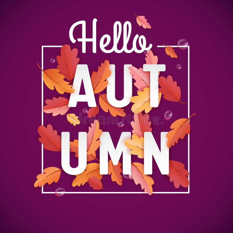 Autumn Background Template with Beautiful Leaves and Raindrops, Fall Illustration with Paper Art for Web Banner, T-shirt vector illustration