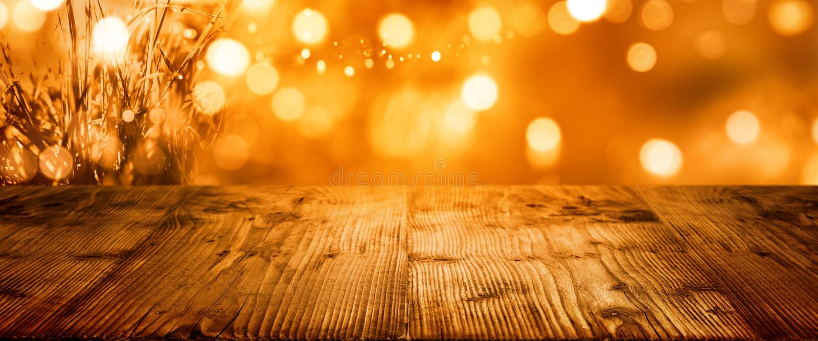 Autumn background for thanksgiving with table royalty free stock photography