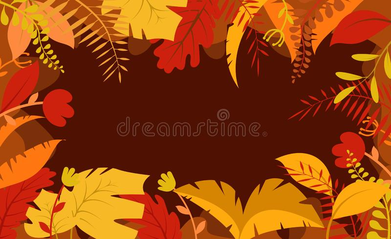 Autumn background, tree paper leaves, yellow backdrop, design for fall season sale banner, poster or thanksgiving day greeting royalty free illustration