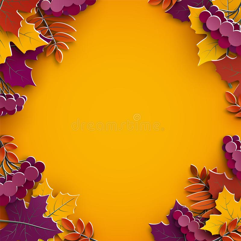 Autumn background, tree paper leaves, yellow backdrop, design for fall season sale banner, poster, thanksgiving day greeting cards royalty free illustration