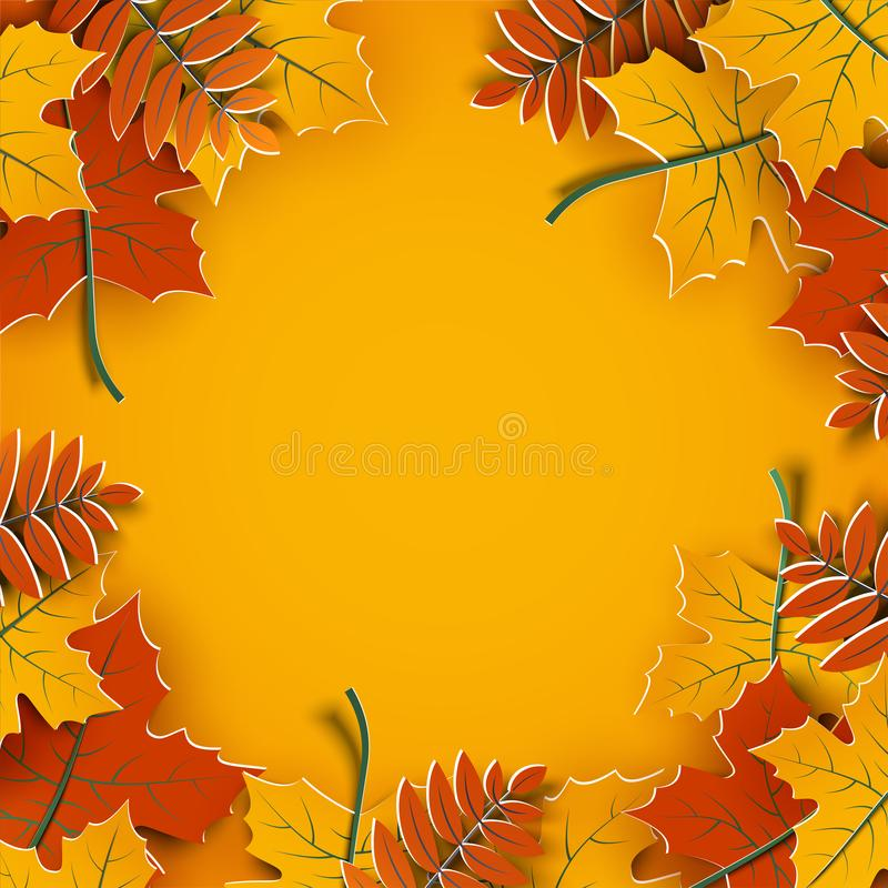 Autumn background, tree paper leaves, yellow backdrop, design for fall season sale banner, poster, thanksgiving day greeting cards. Autumn background, tree paper vector illustration