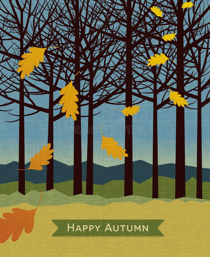 Autumn background with trees and falling leaves. For backgrounds, banners, print designs. Vector illustration vector illustration