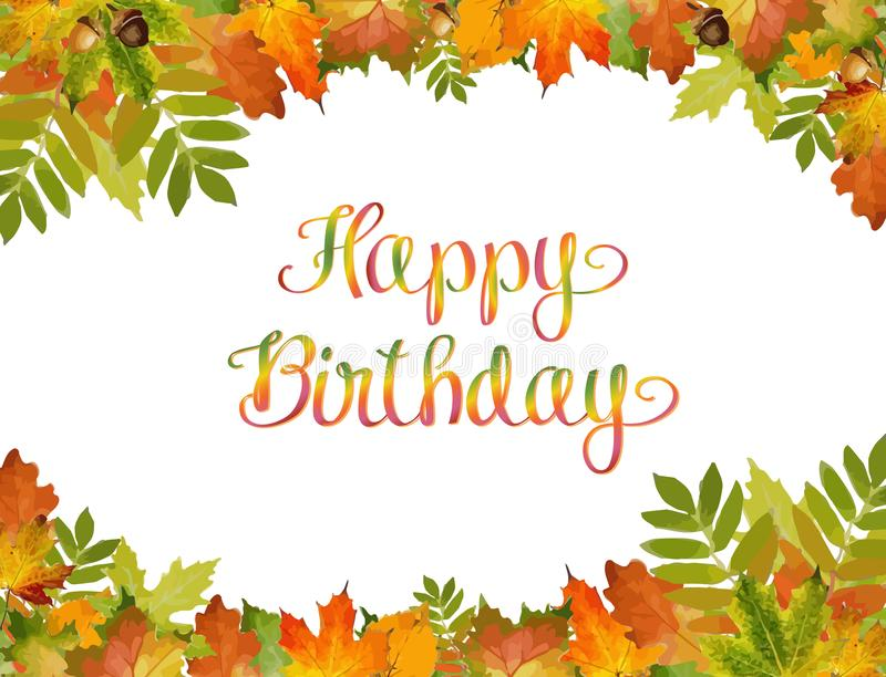 Autumn background vector with Happy Birthday text. style of foliage. stock illustration