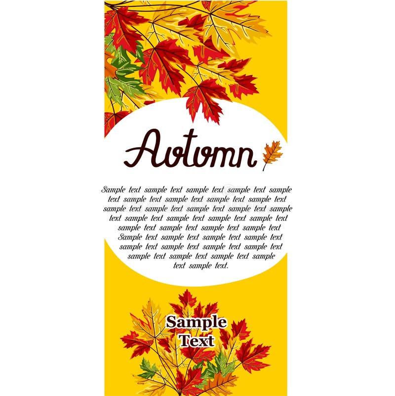 Autumn background vector illustration. Banner of autumn leaves vector illustration. Background with hand drawn autumn leaves. Design elements. Autumn leaves fall stock illustration