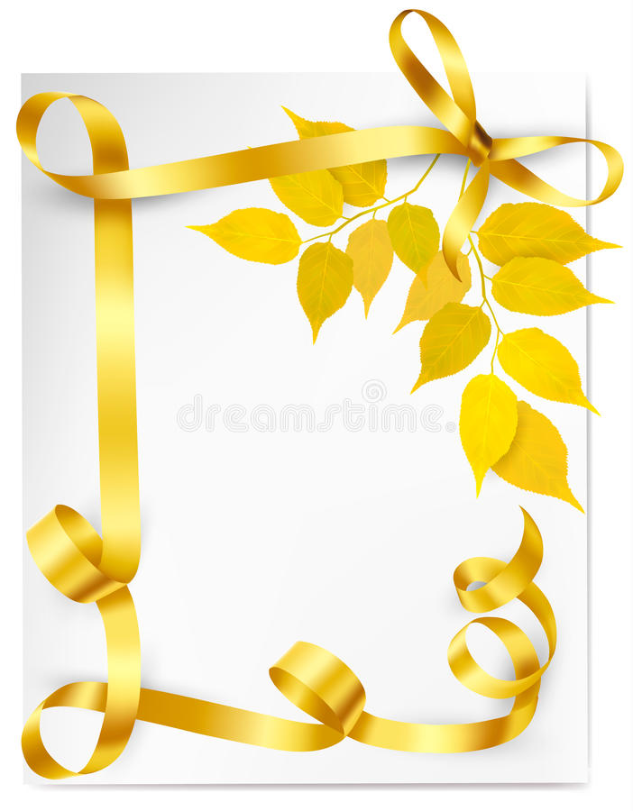 Download Autumn Background With Yellow Leaves And Gold Ribb Stock Vector - Illustration of blank, beauty: 31814886