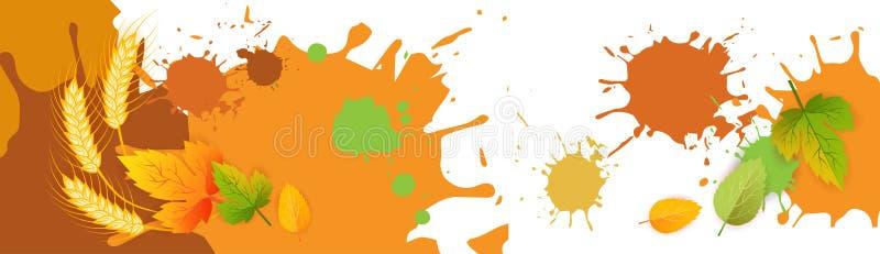 Autumn Background Yellow Leaves And-Tarwe Spike On White, het Concept van het Dalingsseizoen vector illustratie