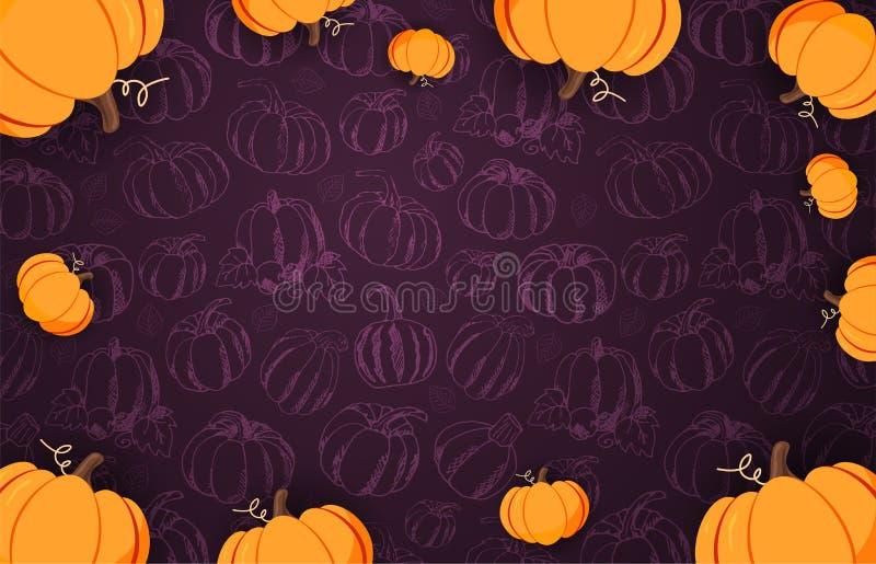 Autumn Backgrounds con la calabaza para la venta que hace compras, cartel del promo y prospecto del marco, bandera del web Planti stock de ilustración