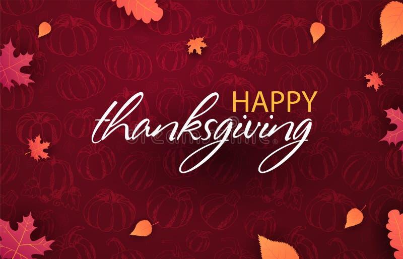 Autumn Backgrounds con la zucca Giorno di ringraziamento Per la vendita di compera, manifesto di promo ed opuscolo della struttur illustrazione di stock