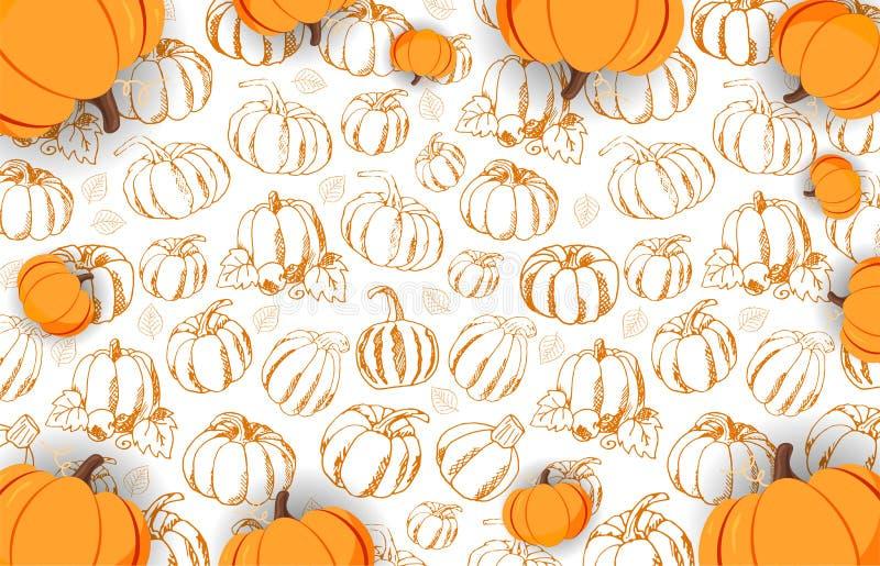 Autumn Backgrounds met Pompoen voor het winkelen verkoop, promoaffiche en kaderpamflet, Webbanner Vectorillustratiemalplaatje stock illustratie