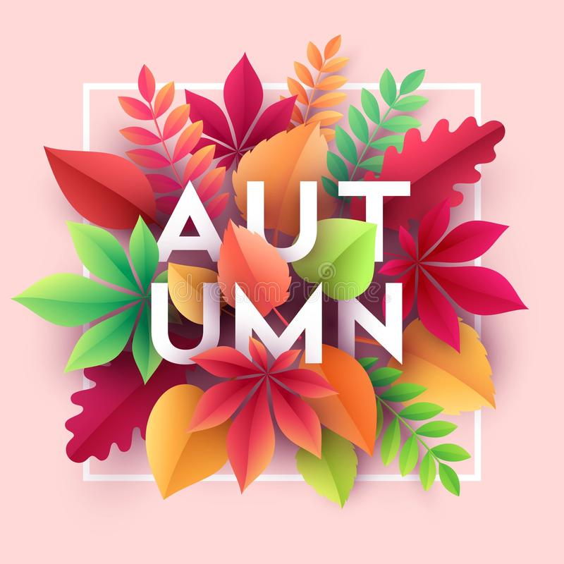 Autumn banner background with paper fall leaves. Vector illustration. EPS10 stock illustration