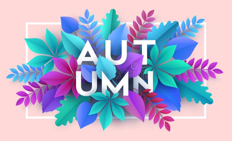 Autumn banner background with paper fall leaves. Vector illustration. EPS10 vector illustration