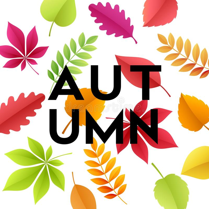 Autumn banner background with paper fall leaves. Vector illustration. EPS10 royalty free illustration