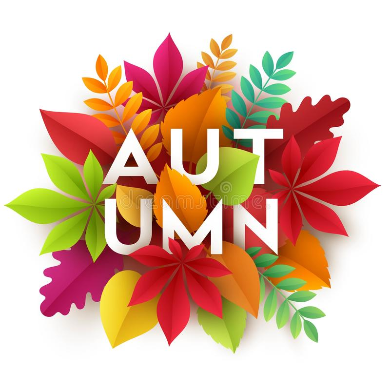 Free Autumn Banner Background With Paper Fall Leaves. Vector Illustration Stock Photo - 98078300