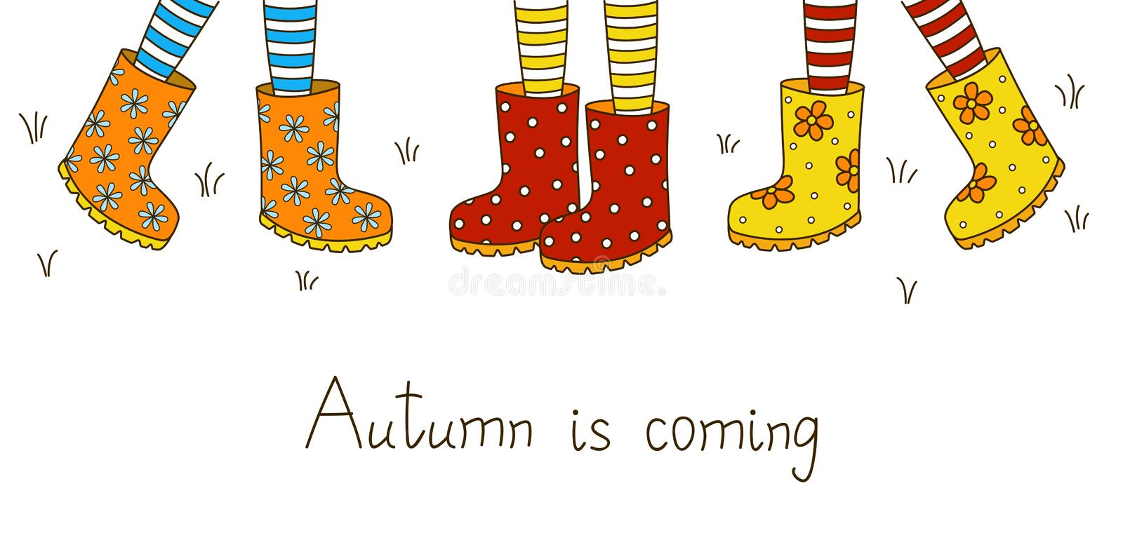 Autumn banner with rubber boots royalty free illustration