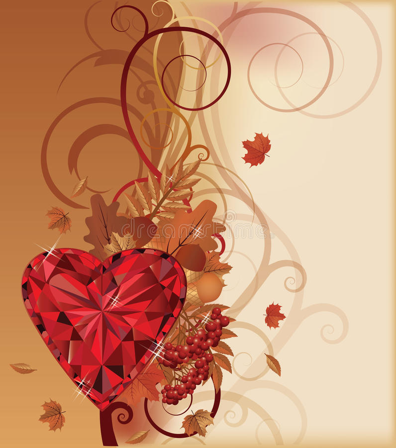 Autumn banner with ruby heart vector illustration