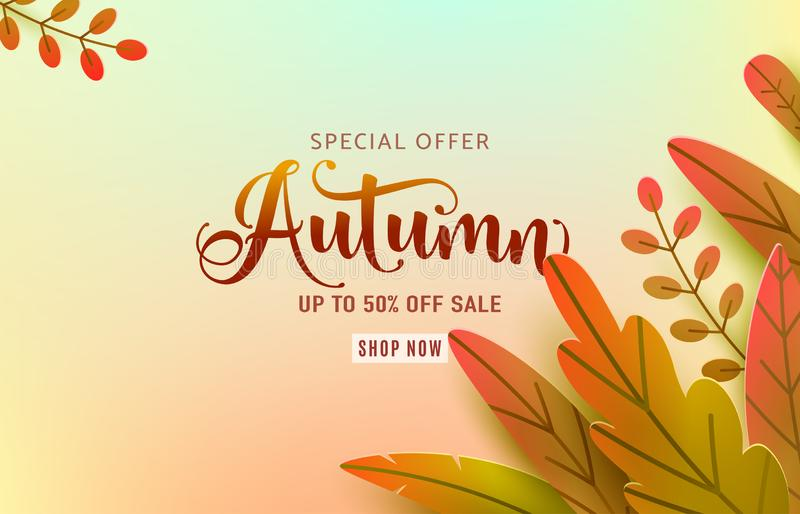 Autumn banner vector background. Fall floral design, text offer sale sign. Red, orange, green abstract leaves in simple vector illustration