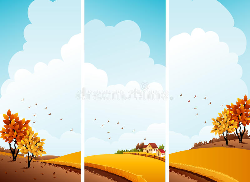 Download Autumn banners stock vector. Illustration of brown, season - 16042375