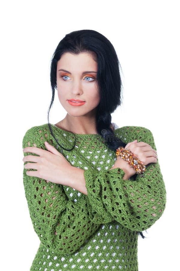 Autumn beauty. Beautiful girl on isolated white royalty free stock image