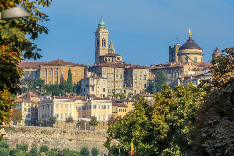 Autumn in Bergamo. View in the castle at autumn in Bergamo royalty free stock image