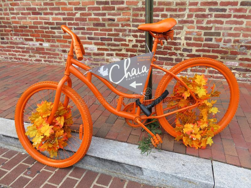Autumn Bicycle colorido em Georgetown fotografia de stock