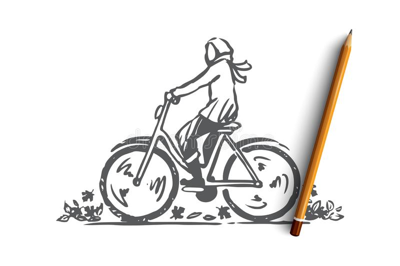 Autumn, bicycle, fall, park, ride concept. Hand drawn isolated vector. stock illustration