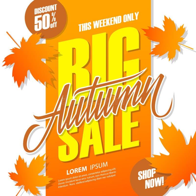 Autumn Big Sale-banner voor het seizoengebonden winkelen Deze achtergrond van de weekendspeciale aanbieding met de hand het van l stock illustratie