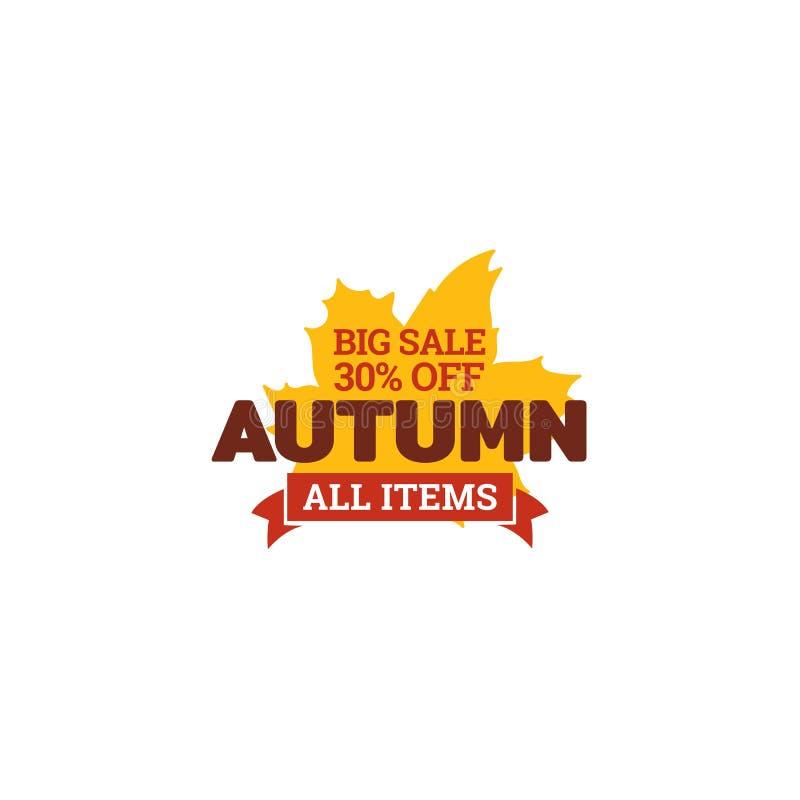 Autumn big sale typography badge with dry leaf background. element for online shop web, banner, poster, flyer. Design vector illustration