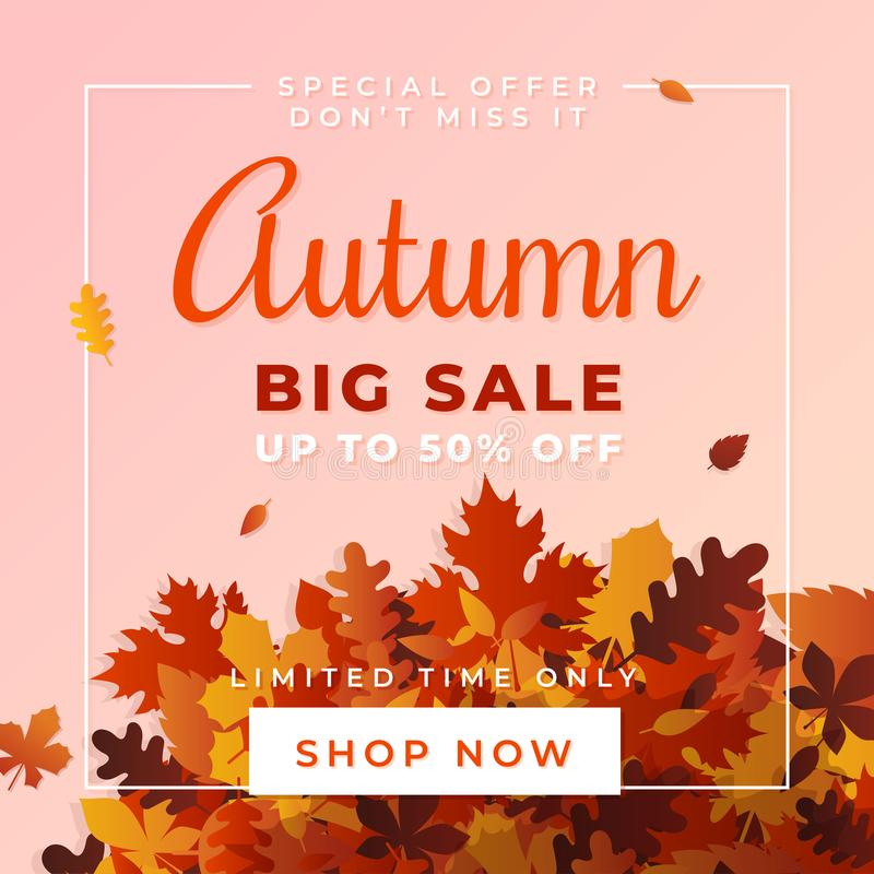 Autumn big sale vector illustration. A pile of dry leaves background, up to 50% off text. stock illustration