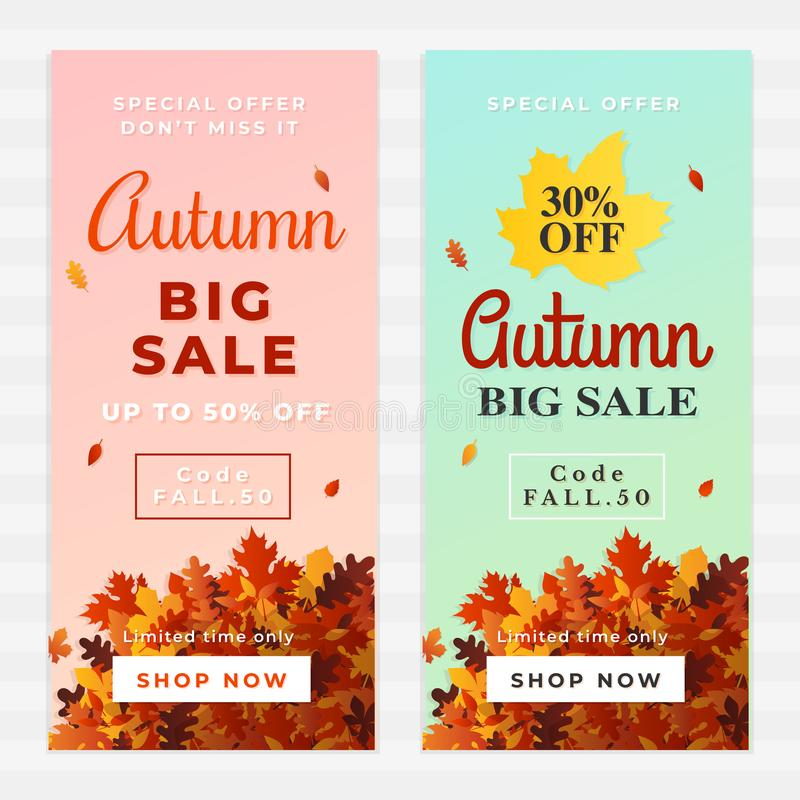 Autumn big sale vector illustration. A pile of dry leaves background, up to 50% off text. Fall discount online shop banner stock illustration