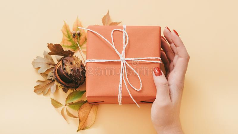 Autumn birthday handmade gift box fall leaves stock images