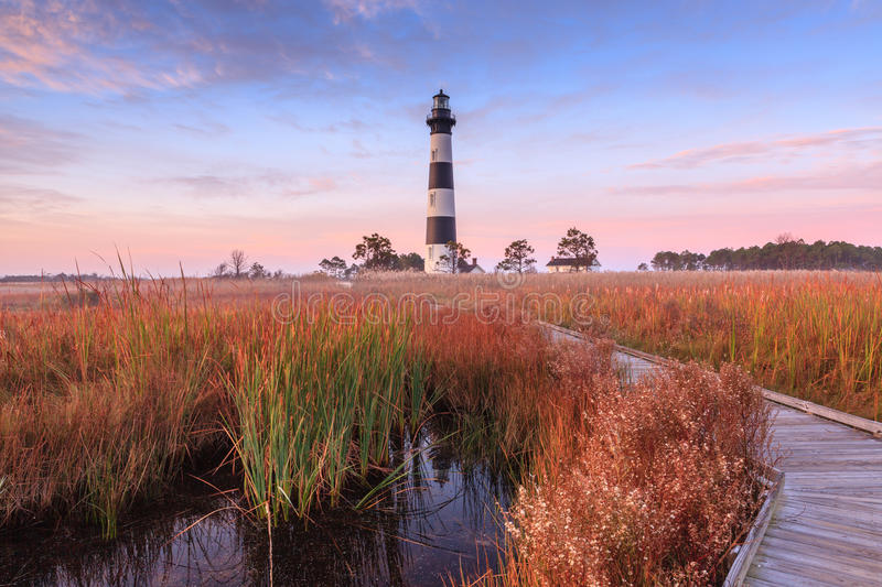 Bodie Island Lighthouse Hatteras North Carolina. Bodie Island Lighthouse in North Carolina at sunrise in autumn on the Outer Banks of Cape Hatteras National stock images