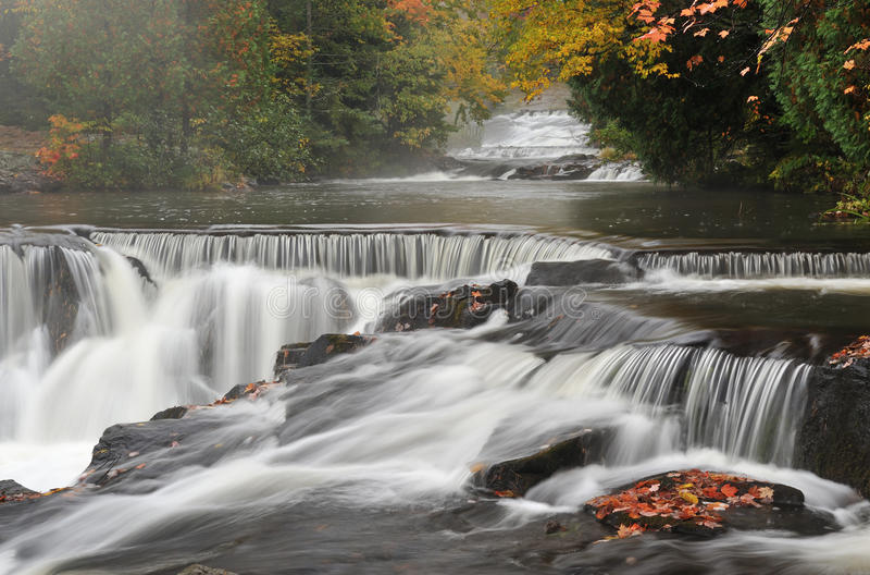 Download Autumn, Bond Falls stock image. Image of serene, rock - 9640267