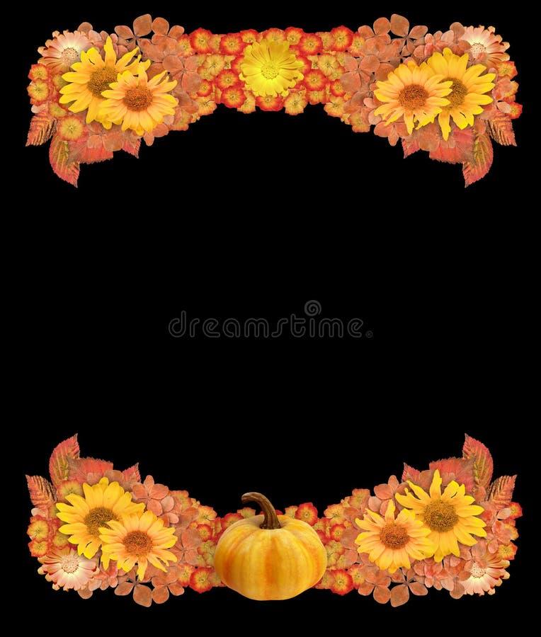 Autumn Border eller ram med pumpa, torkade blommor och sidor royaltyfri foto