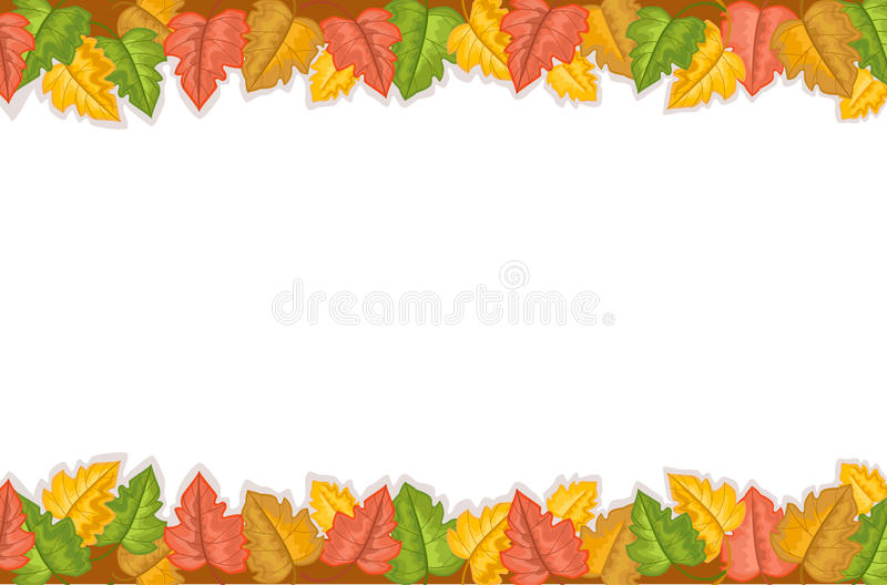 Autumn Border With Golden Leaves Stock Photo