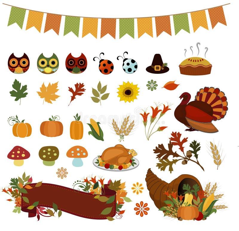 Autumn Bounty Thanksgiving Vector Clipart royalty illustrazione gratis