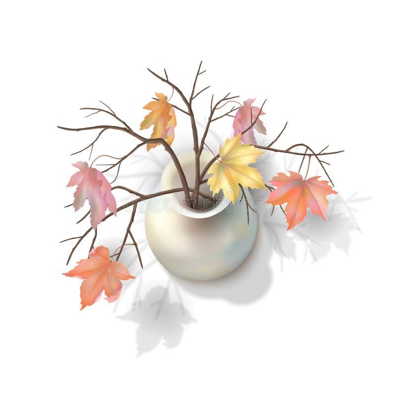 Autumn Branches i en vas vektor illustrationer