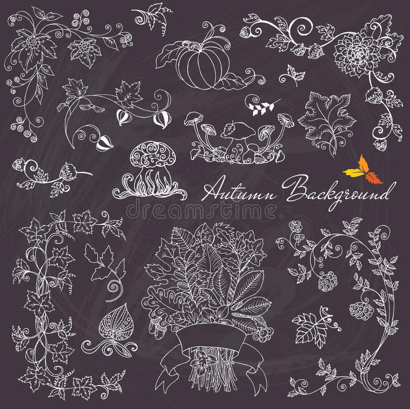 Autumn Branches och beståndsdelar stock illustrationer