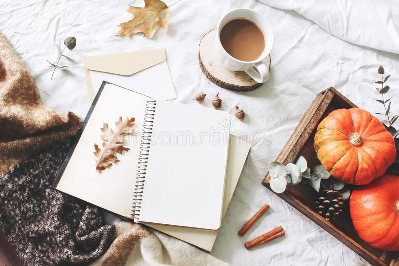 Autumn breakfast in bed composition. Card, notebook mockup. Cup of coffee, eucalyptus leaves, pumpkins on wooden tray. White linen background. Thanksgiving stock photography