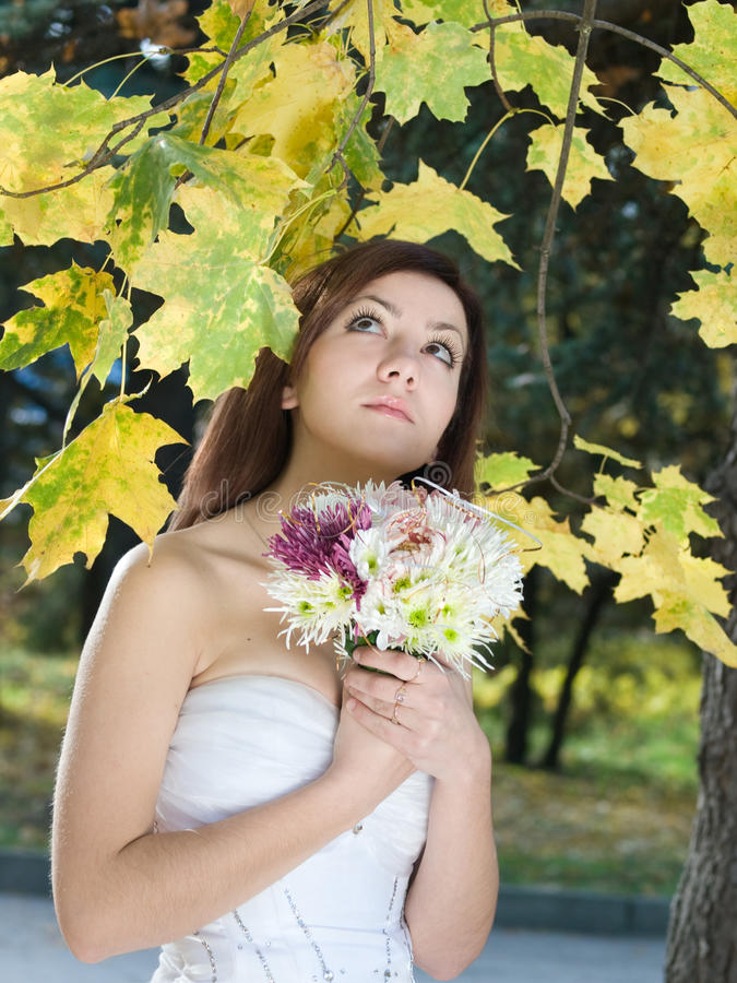 Autumn bride royalty free stock photos