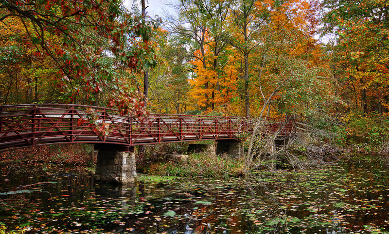 Autumn Bridge. A beautiful autumn scene at a lake that shows a bridge crossing the water stock photography