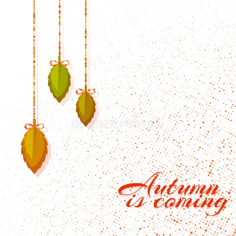 Autumn background with leafs. Vector illustration stock photo