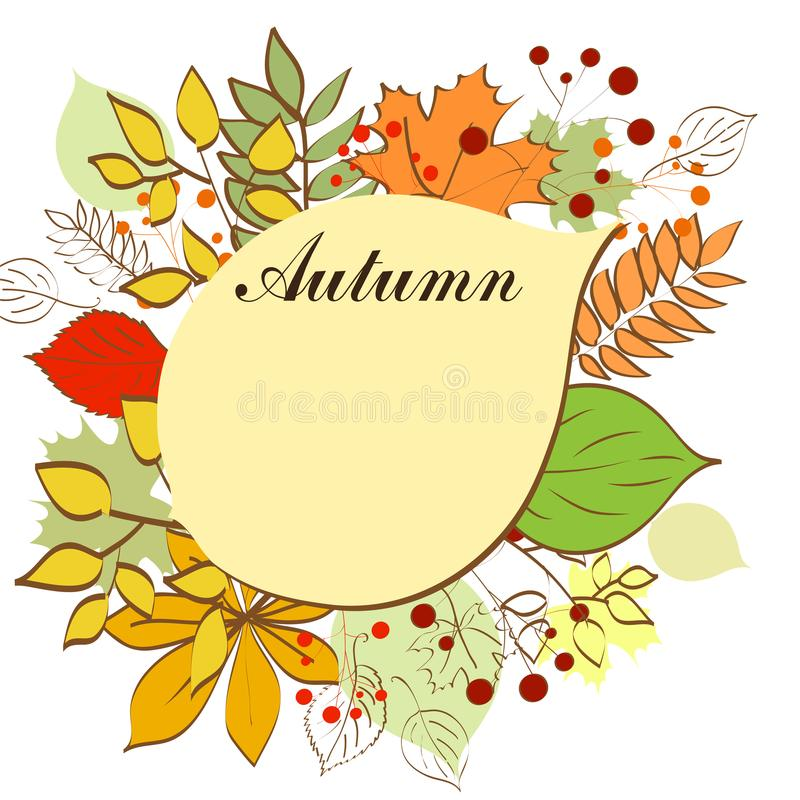 Autumn bright background with yellow leaves and place for your place. Autumn mood. royalty free illustration