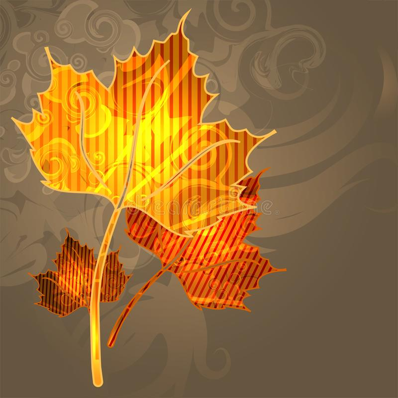Autumn bright background with yellow leaves and place for your place. Autumn mood. stock illustration