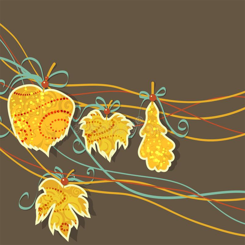 Autumn bright background with yellow leaves and place for your place. Autumn mood. vector illustration