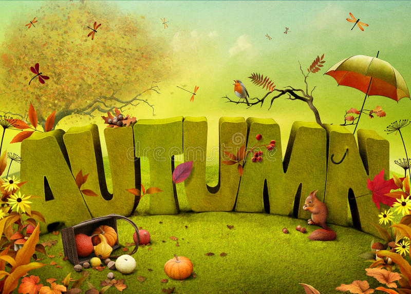 Autumn. Bright autumn landscape field background for a poster or illustration. Computer graphics