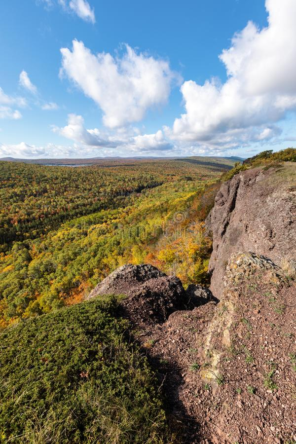 Autumn at Brockway Mountain in Copper Harbor Michigan. Autumn colors develop across Brockway Mountain near Copper Harbor, in Michigan`s Upper Peninsula royalty free stock photography
