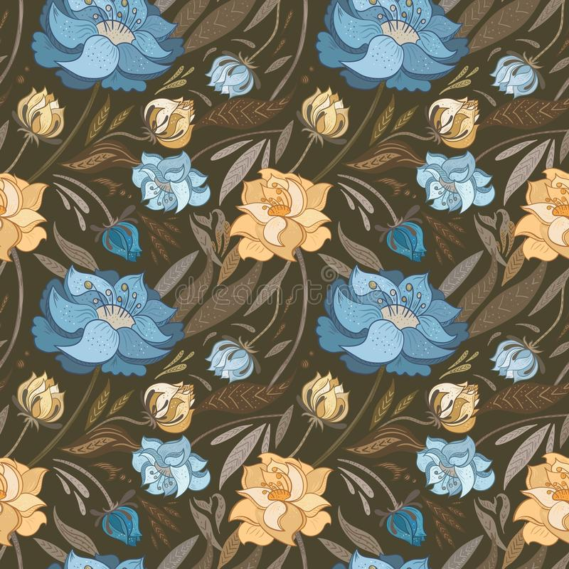 Autumn Brown Vector Floral Pattern stock abbildung