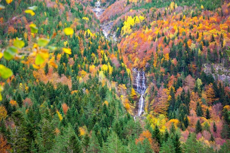 Autumn Bujaruelo Ordesa waterfal in kleurrijke daling boshuesca royalty-vrije stock foto