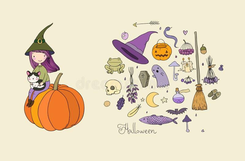 autumn buty deszczowej podlegających gumowego parasolkę halloween Mała śliczna dziewczyna i kreskówka kota obsiadanie na filiżanc royalty ilustracja